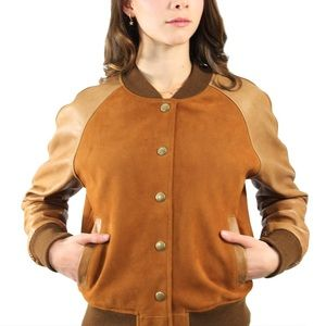 Women's Suede and Leather Varsity Jacket